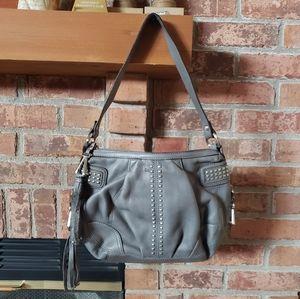B Makowsky Gray Leather Purse